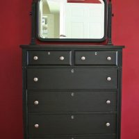 Before and afters of a tallboy dresser from Freecycle