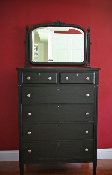 tallboy dresser painted black