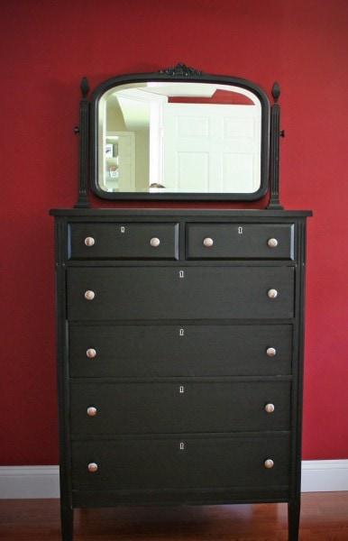 tallboy dresser painted black