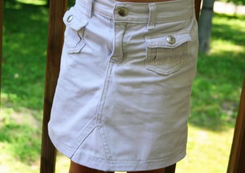 A refashioned knee-length khaki skirt.