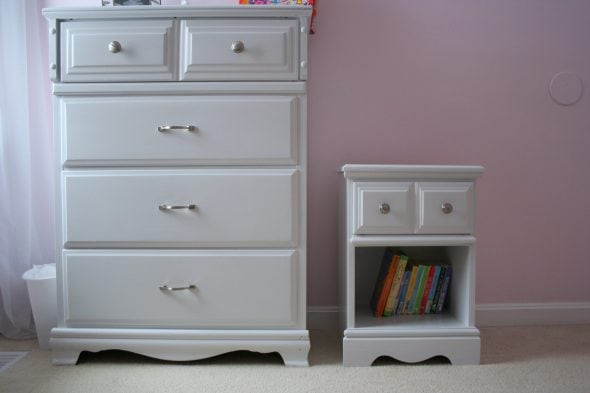 White dresser and nightstand