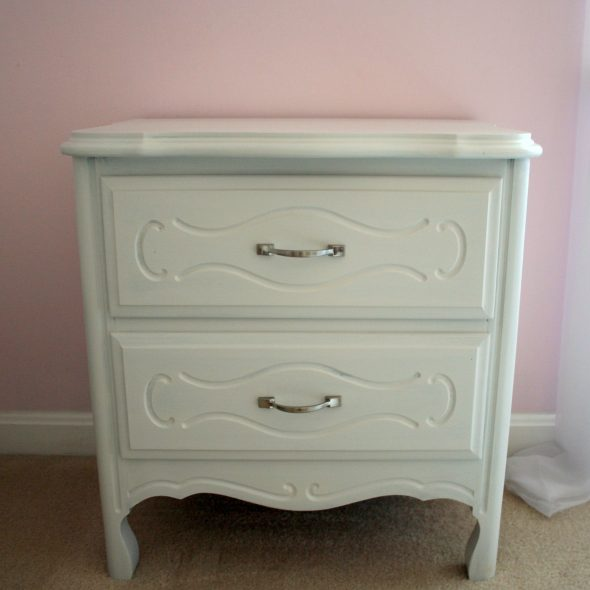 white provincial nightstand