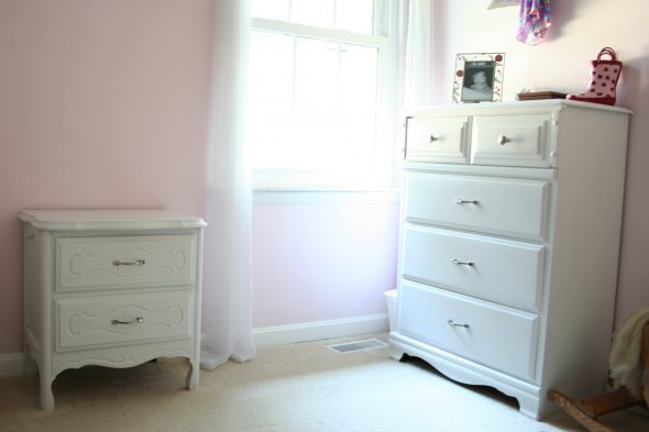 white nightstand and dresser