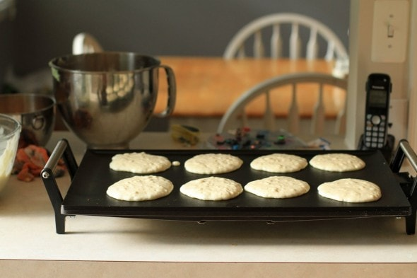 buttermilk pancakes on griddle