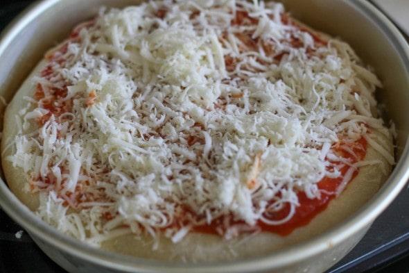 deep dish pizza ready to bake