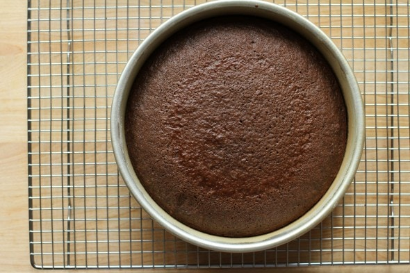 chocolate cake cooling in pan