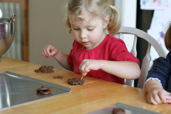 Sonia making cookies