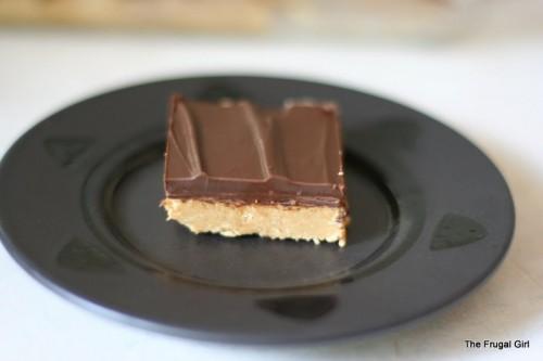 A peanut butter bar on a plate