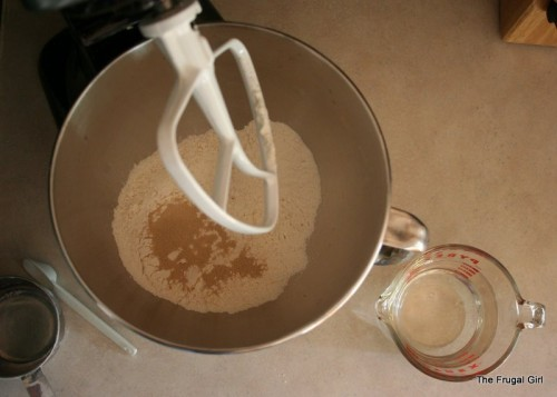 Overhead view of a mixer bowl.