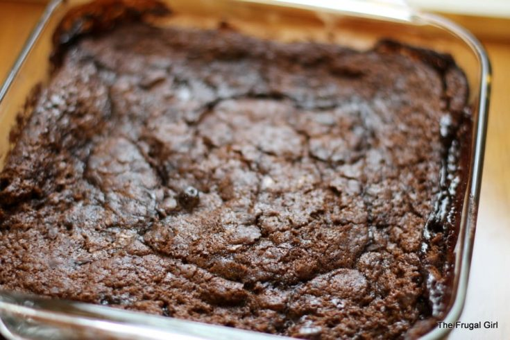 This stir and bake cake has a fun fudgy pudding layer below the cake!
