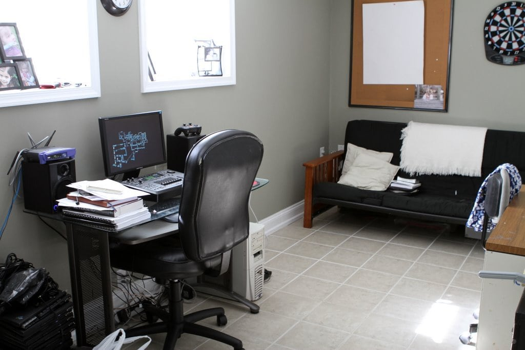 A tidy office with tile floors.