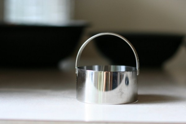 A stainless steel biscuit cutter.