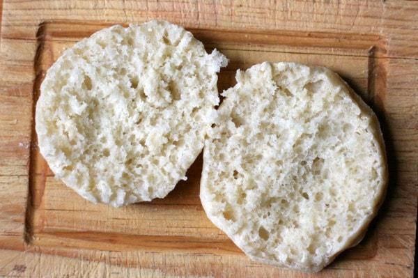 An untoasted English muffin