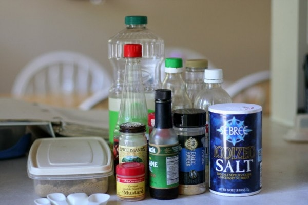 Ingredients to make Asian salad dressing.
