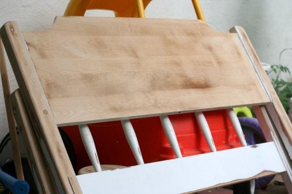 A sanded headboard.