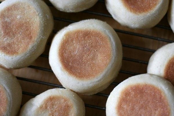 A collection of homemade English muffins.