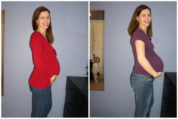 A collage of two photos of Kristen while she was pregnant with Zoe.
