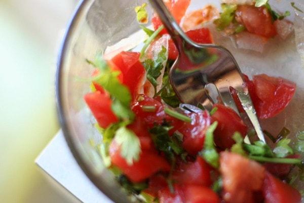 A bowl of salsa.