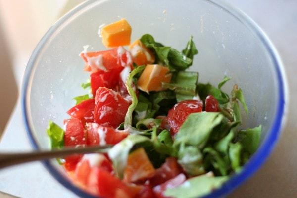 A bowl of salad.