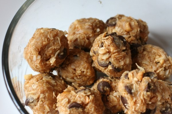 Energy balls in a glass container.