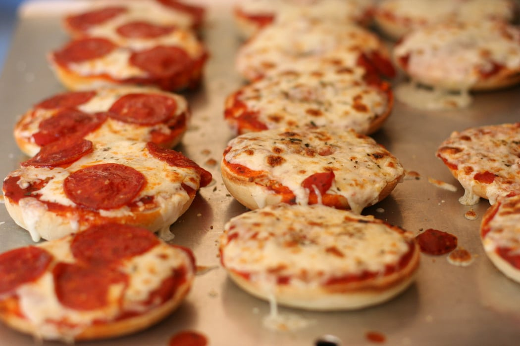 How to make pizza bagels aka hot weather pizza the frugal girl