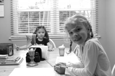 sonia and Zoe homeschool kindergarten