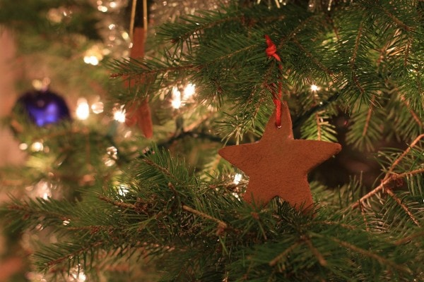 cinnamon applesauce ornaments on tree