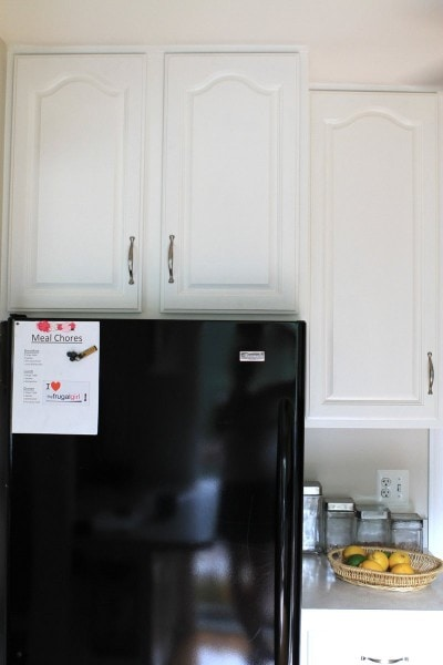 painted kitchen cabinets over fridge