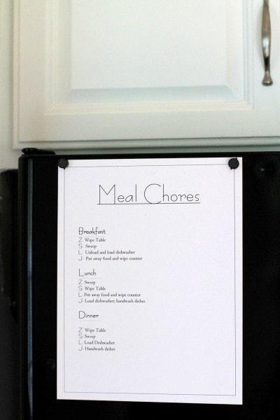 meal chore list