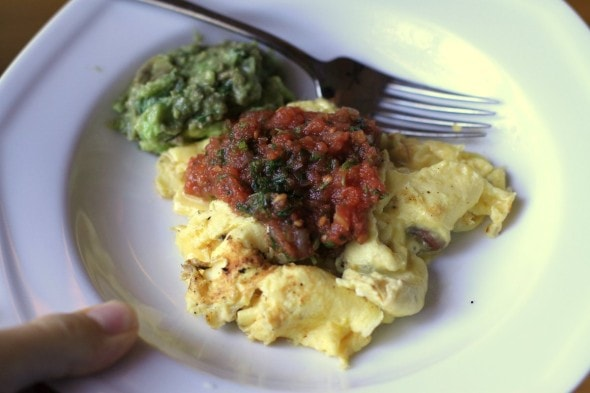 scrambled eggs with salsa and guacamole