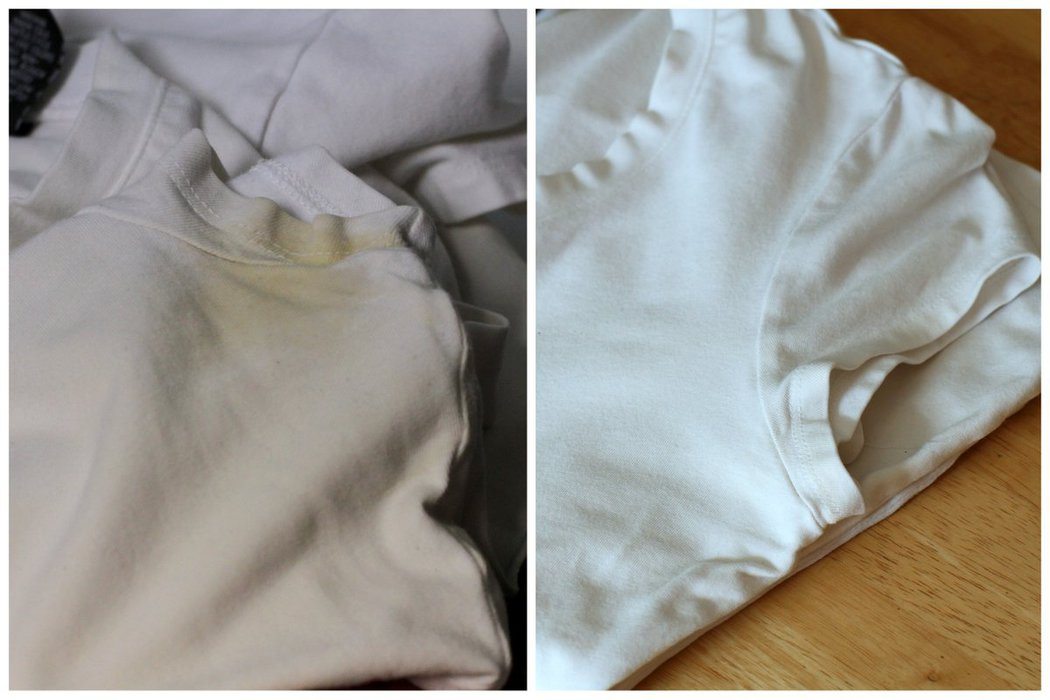 Before and after of a shirt cleaned with oxi-clean.