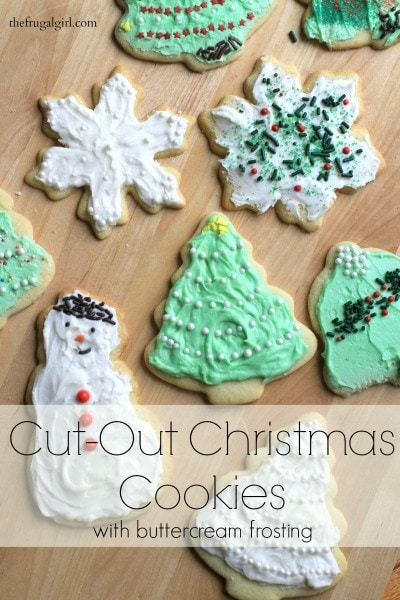 Cut-Out Christmas Sugar Cookies (with buttercream frosting) from The Frugal Girl