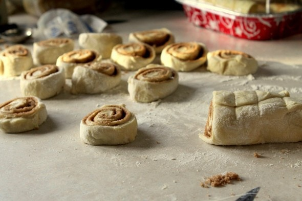 homemade sliced cinnamon rolls