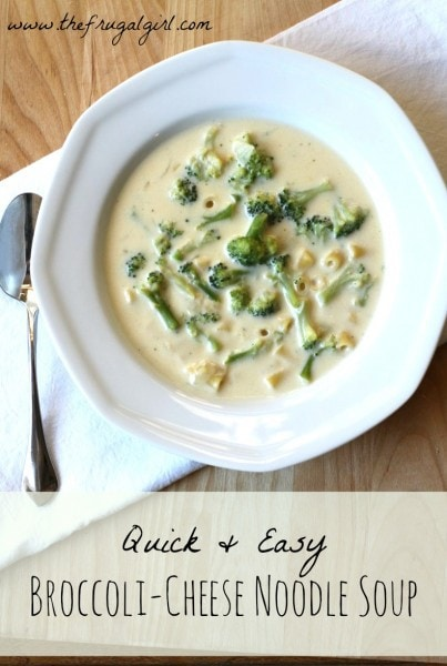 Super Easy Broccoli Cheese Noodle Soup