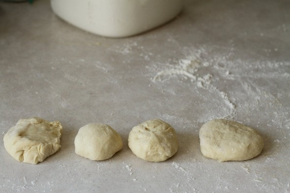 shaping hamburger rolls