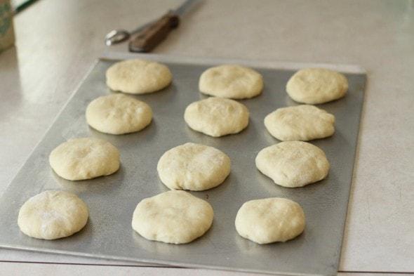 homemade hamburger buns ready to rise
