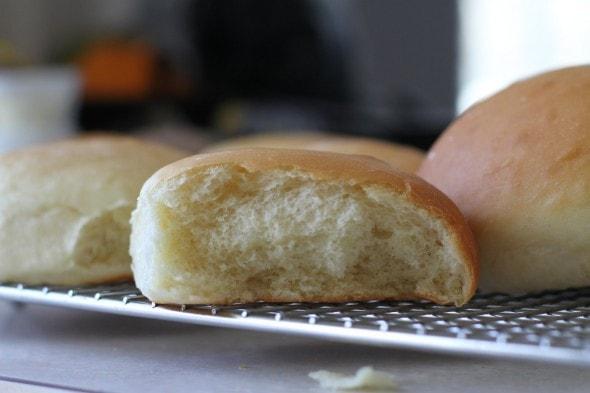 fluffy homemade hamburger bun