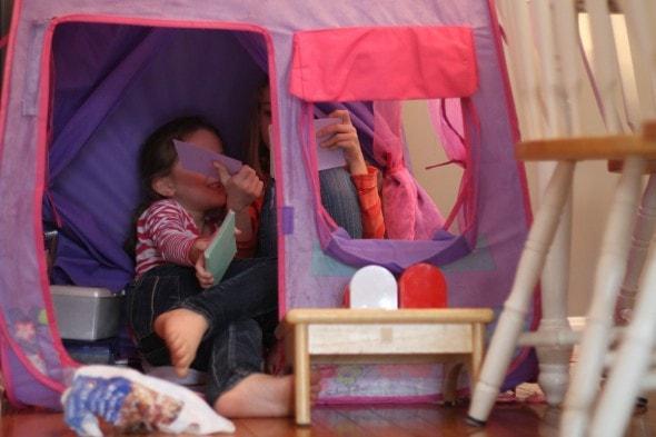 girls in pop-up tent