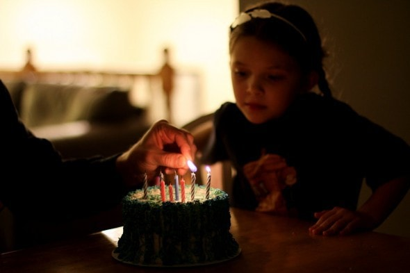 Zoe with a birthday cake.