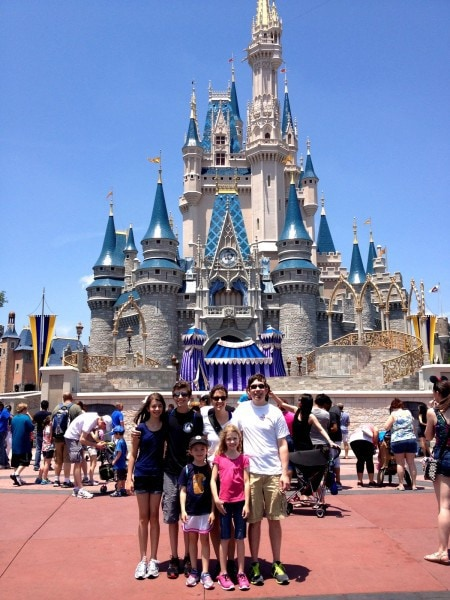 FG family at Magic Kingdom castle
