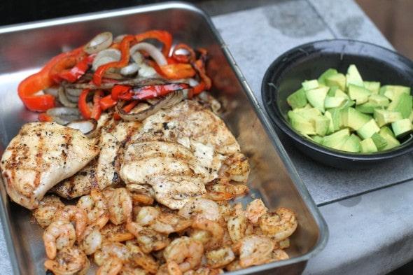 Grilled fajita salad ingredients.