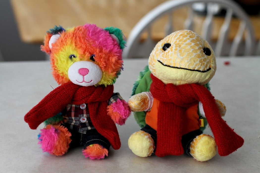A pair of stuffed animals with scarves.