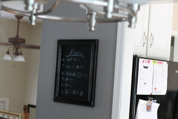 chalkboard menu in dining room