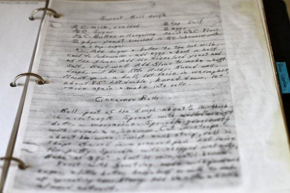 grandma's handwritten sweet roll recipe