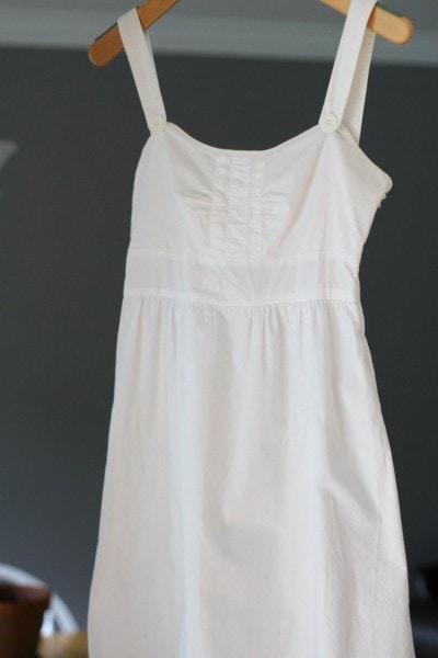 white Goodwill dress