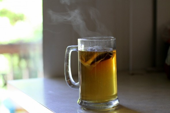 steam from a mug of tea