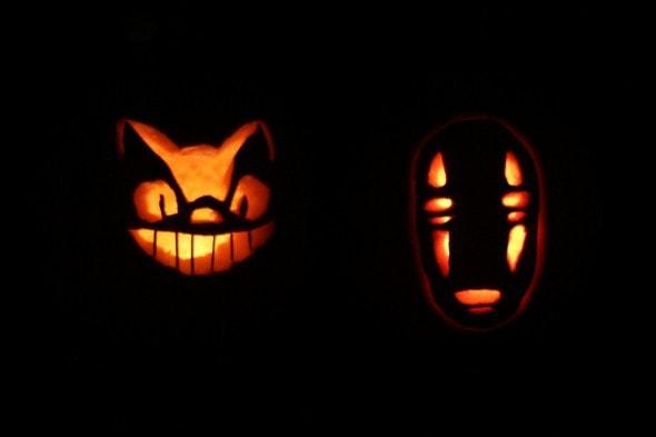 no face and cat bus pumpkin