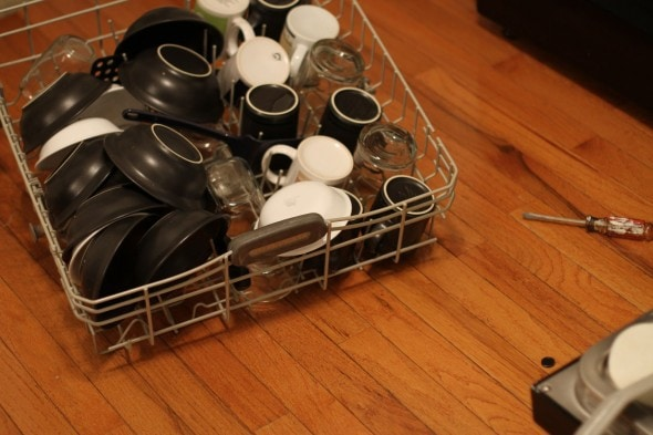 dishwasher rack on floor