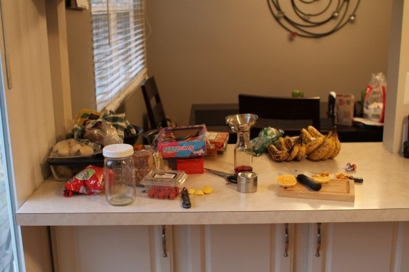 messy kitchen counter