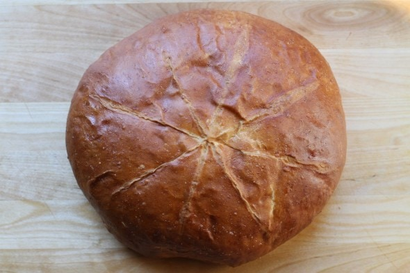 yeasted round banana bread